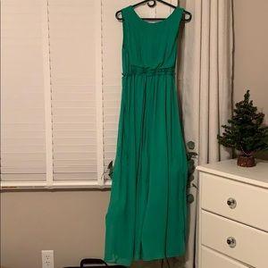 Green sleeve formal dress